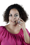 Mujer que habla en el teléfono Fotos de archivo libres de regalías
