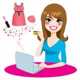 Mujer que hace compras en línea libre illustration