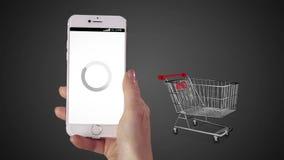 Mujer que hace compras en línea en su teléfono ilustración del vector