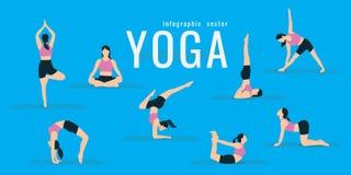 Mujer que hace ejercicios de la aptitud y de la yoga Estocadas y posiciones en cuclillas Activ libre illustration