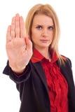 Mujer que hace gesto de la parada foto de archivo