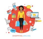 Mujer que hace hacer compras en línea ilustración del vector