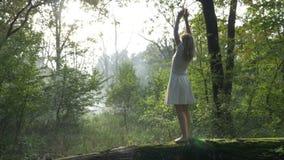 Mujer que hace los movimientos de la yoga en el bosque que se relaja en naturaleza - metrajes