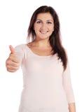 Mujer que hace un gesto positivo Imágenes de archivo libres de regalías