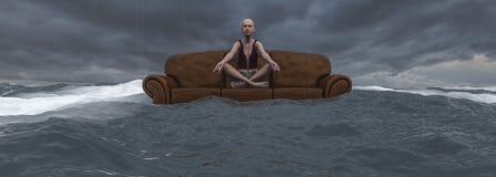Mujer que hace yoga ilustración del vector