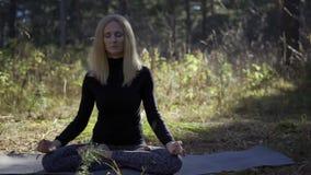 Mujer que hace yoga en el bosque metrajes