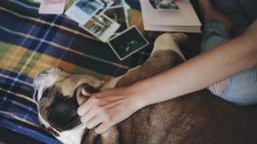 Mujer que juega con su perro y que mira photoalbum metrajes