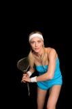Mujer que juega el racketball Imágenes de archivo libres de regalías
