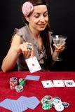 Mujer que juega en el casino Imágenes de archivo libres de regalías