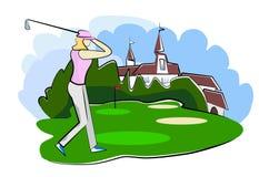 Mujer que juega a golf Foto de archivo libre de regalías
