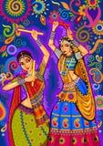 Mujer que juega la danza del garba para la noche de Dussehra Dandiya durante Navratri ilustración del vector