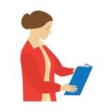 Mujer que lee un libro profesor Foto de archivo