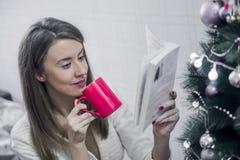 Mujer que lee un libro y que bebe el café en la Navidad en casa en la sala de estar El libro de lectura de la mujer en la Navidad Imagenes de archivo