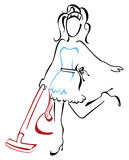 Mujer que limpia con la aspiradora en la casa ilustración del vector