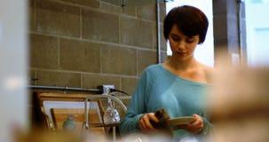 Mujer que limpia una placa en cocina almacen de video