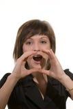 Mujer que llama o que grita Imagenes de archivo