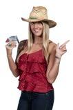 Mujer que lleva a cabo 100 billetes de dólar Foto de archivo libre de regalías