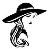Mujer que lleva diseño de par en par brimmed del vector del sombrero Fotos de archivo libres de regalías