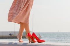 Mujer que lleva el vestido rosa claro largo en el embarcadero Imágenes de archivo libres de regalías