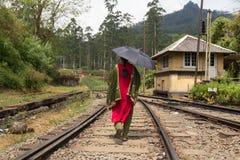 Mujer que lleva la sari tradicional y el paraguas negro que caminan en pistas ferroviarias en Sri Lanka Imagenes de archivo