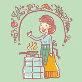 Mujer que lleva un delantal que fríe un poco de comida Ilustración del vector Imagen de archivo