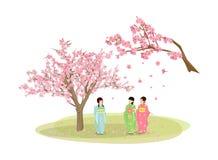 Mujer que lleva un kimono y un Sakura stock de ilustración