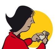 Mujer que manda un SMS ilustración del vector