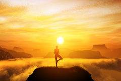 Mujer que medita en la posición de la yoga del árbol Imagen de archivo