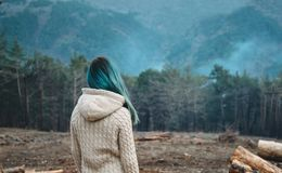 Mujer que mira el bosque fotos de archivo