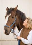 Mujer que mira el caballo Fotografía de archivo libre de regalías