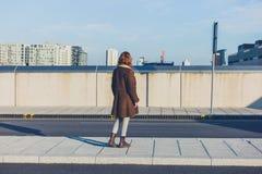 Mujer que mira el skuline de la ciudad en invierno Foto de archivo libre de regalías