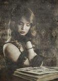 Retrato del vintage en fondo retro Fotografía de archivo