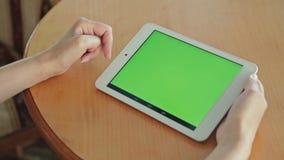 Mujer que mira la tableta con la pantalla verde en café almacen de metraje de vídeo