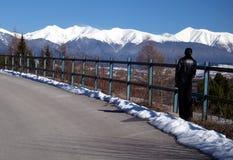 Mujer que mira las montañas nevadas foto de archivo