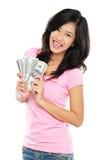 Mujer que muestra el dinero aislado en el fondo blanco Imagenes de archivo