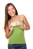 Mujer que muestra el dinero euro Foto de archivo libre de regalías