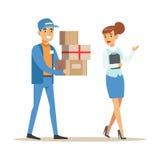 Mujer que muestra la manera para el trabajador del servicio de entrega, mensajero sonriente Delivering Packages Illustration libre illustration