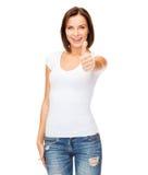 Mujer que muestra los pulgares para arriba Fotografía de archivo