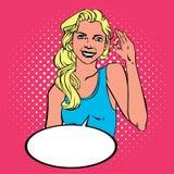 Mujer que muestra a tebeos aceptables del arte pop del éxito estilo retro con el tono medio Imagenes de archivo