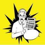 Mujer que muestra una calculadora - idea cómico retro Fotografía de archivo