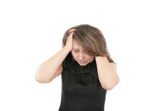 Mujer que parece presionada Imagen de archivo