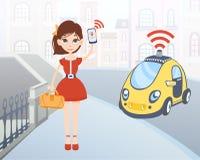 Mujer que pide el taxi driverless usando la aplicación móvil Carácter femenino de la historieta con smartphone y coche en la call Imagen de archivo libre de regalías