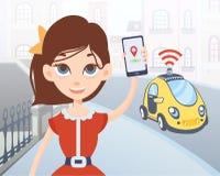 Mujer que pide el taxi driverless usando la aplicación móvil Carácter femenino de la historieta con smartphone y coche en la call Fotografía de archivo libre de regalías