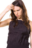 Mujer que piensa en sus problemas Imágenes de archivo libres de regalías