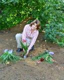 Mujer que planta las flores en jardín Imagen de archivo