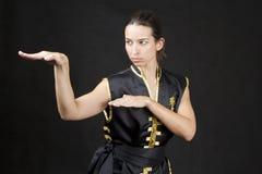 Mujer que practica artes marciales fotos de archivo libres de regalías