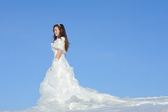 Mujer que presenta en alineada de boda Fotos de archivo libres de regalías