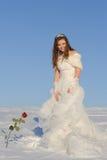Mujer que presenta en alineada de boda Fotografía de archivo