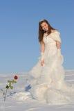 Mujer que presenta en alineada de boda Imágenes de archivo libres de regalías