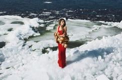 Mujer que presenta en invierno Imagenes de archivo